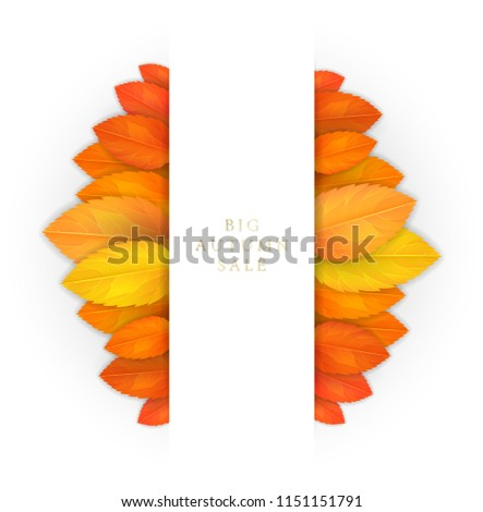 Trendy and elegant autumn background with realistic yellow gold orange leaves. Gradient leaf coloring. Simple minimalistic style. Sale banner template Fall seasonal poster or card Vector illustration