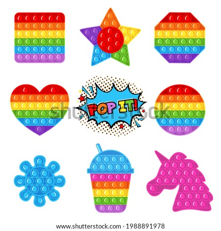 Trendy antistress sensory toy Pop it fidget set in flat style isolated on white background.