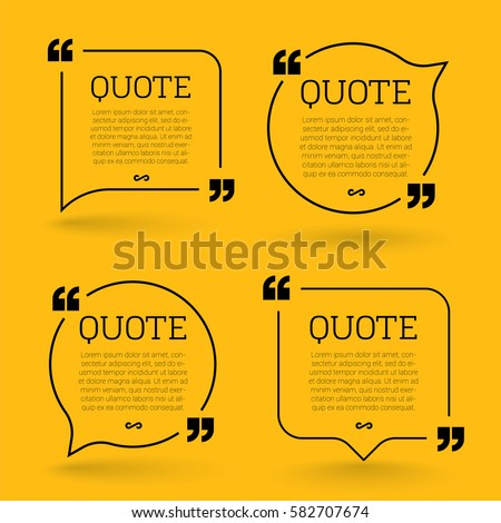 Trendy block quote modern design elements. Creative quote and comment text frame template