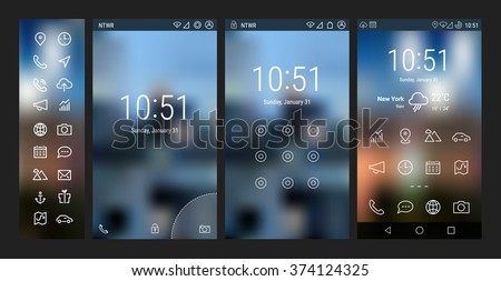 Trendy bold line mobile smartphone UI app template, with basic app and wireframe ui bold line icon set, on blurred background. Welcome, lock and home page screens