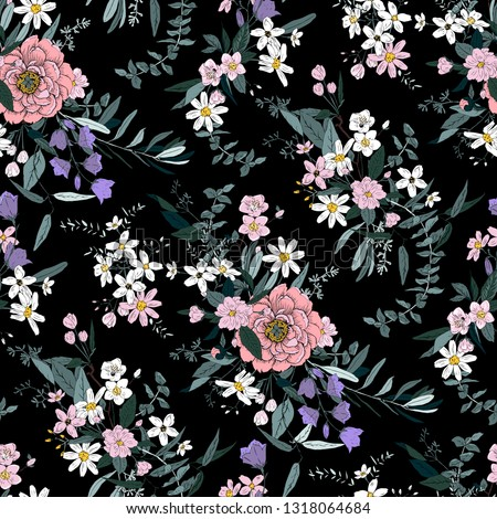 Trendy bright Floral pattern in the many kind of flowers. Botanical Motifs scattered random. Seamless vector texture. For fashions. Silhouettes of a shadow of plants