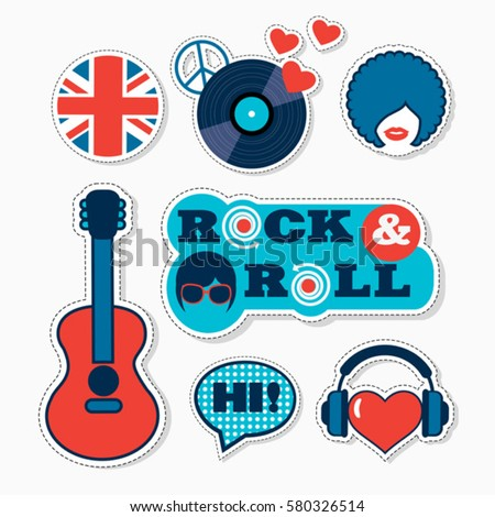 Trendy british pop art musical patches, stickers and pins