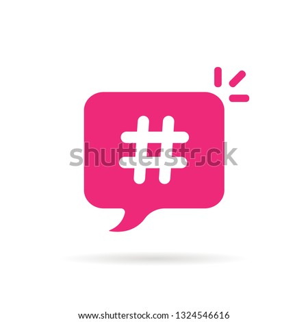 trendy bubble with hashtag logo. concept of online micro blog popup mesage or youth culture. flat cartoon style trend modern minimal logotype graphic creative design isolated on white background