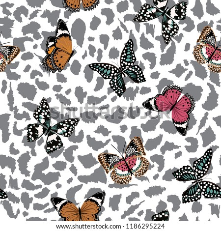 trendy  butterflies flying on