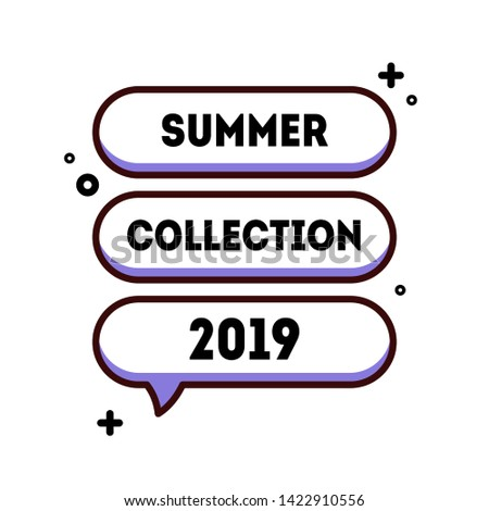 Trendy cartoon banner for logo, sale promotion. Summer collection 2019 discount badge