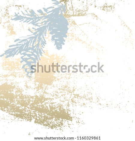 Trendy Chic Pastel colored background with Gold Foil shapes and painted christmas tree silhouettes. Abstract unusual textures for wallpaper, greeting cards, headers, decoration elements. Vector
