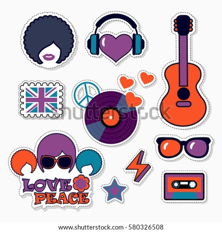 Trendy color musical patches, stickers and pins