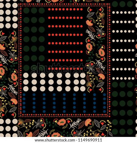 Trendy colorful  polka dots pattern mix and Bohemian flowers seamless pattern vector for fashion,scarf ,fabric and all prints on black background