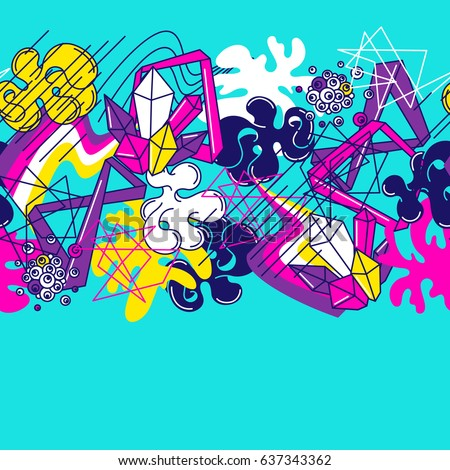 Trendy colorful seamless pattern. Abstract modern color elements in graffiti style.