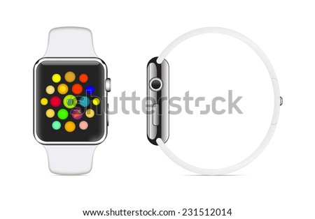 Trendy Colorful Vector Illustration Icon of White Aluminium Smart Watch with Smartwatch Interface