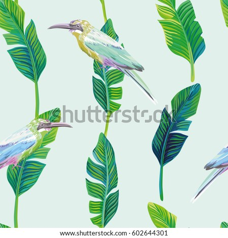 Trendy composition of tropical birds and palm leaves. Vector summer seamless illustration, wallpaper on a light green pattern background