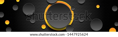 Trendy composition of yellow and black circles on black background. Dark metallic perforated texture design. Technology geometric illustration. Vector header banner