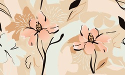 Trendy contemporary floral seamless pattern. Fashionable template for design. Soft feminine palette.