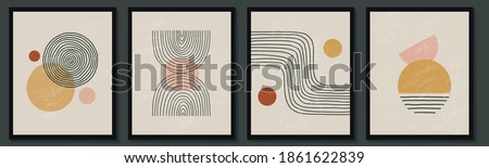 Trendy contemporary set of abstract creative geometric minimalist artistic hand painted composition. Vector posters for wall decor in vintage style Foto stock ©