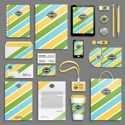 Trendy corporate identity striped template set. Business stationery mock-up with logo. Branding design. Memphis texture. Colorful geometric background.