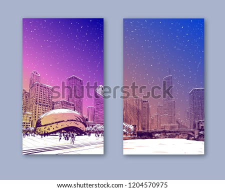 Trendy cover template. Winter city. Merry Christmas and New Year card design. Chicago city hand drawn. Street sketch, vector illustration