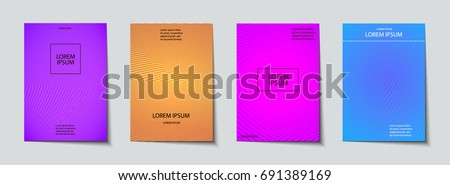 Trendy Covers set. Abstract, geometric, halftone pattern. Simple shapes with Modern, Minimal Design #691389169