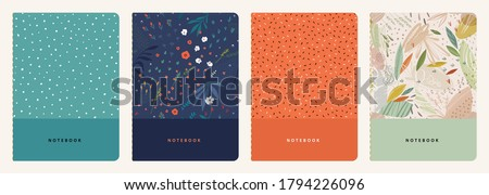 Trendy covers set. Cool abstract and floral design. Seamless pattern and mask used, easy to re-size. For notebooks, planners, brochures, books, catalogs etc. Vector illustration.