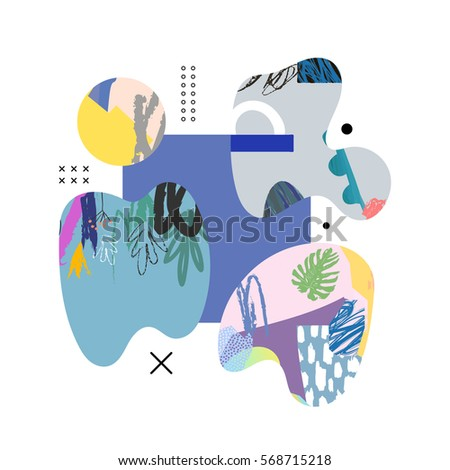 Trendy creative collage with different textures and shapes. Contemporary art. Modern graphic design.  Unusual artwork. Vector.