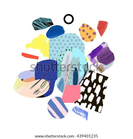 Trendy creative collage with different textures and shapes. Modern graphic design.  Unusual artwork. Vector. Isolated