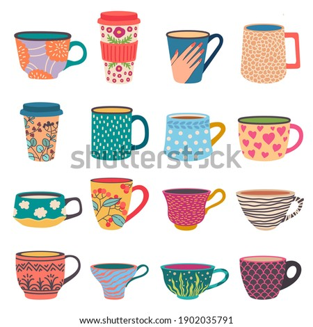 Trendy cups. Coffee and tea mugs in scandinavian style. Side view paper go-cup with modern flower patterns. Colorful porcelain vector set. Illustration drink mug, cup coffee tea
