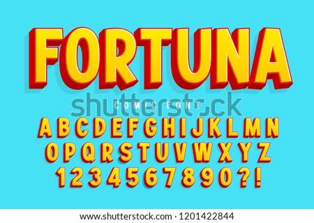 Trendy 3d comical font design, colorful alphabet, typeface. Color swatches control