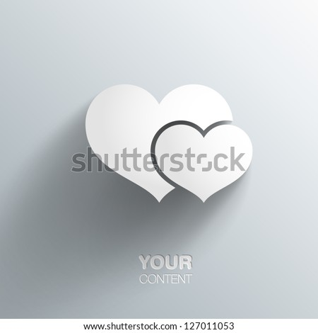 Trendy 3D Hearts With Transparent Shadow