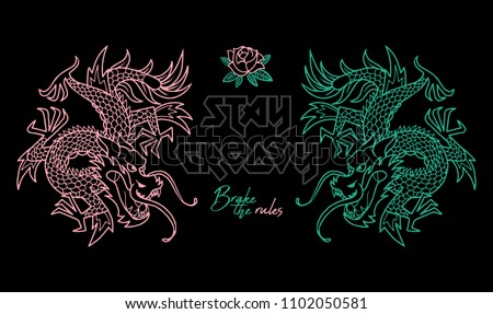 Trendy design embroidered Japan neon dragons with and phrase