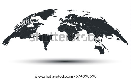 Trendy Detailed Globe Map in Black Isolated on White Background with Shadow. 3D Vector Illustration