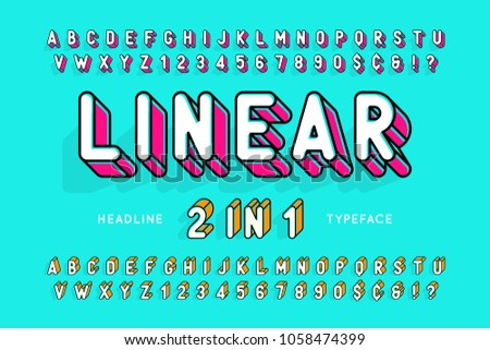 Trendy display font popart design, alphabet, letters and numbers. 2 in 1.  Swatch color control