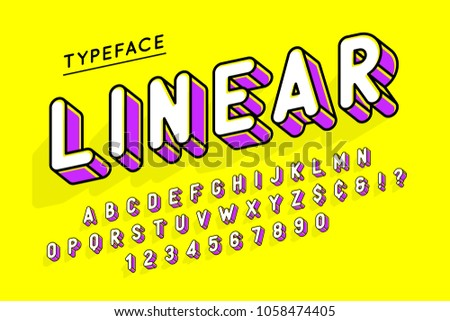 Trendy display font popart design, alphabet, letters and numbers. Swatch color control