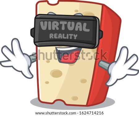 Trendy dutch cheese character wearing Virtual reality headset