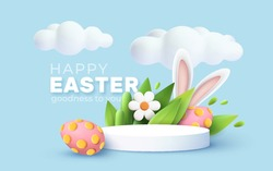 Trendy Easter greeting with 3d product podium, spring flower, cloud, Easter egg and bunny. Spring floral Modern 3d graphic concept. Vector illustration EPS10