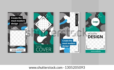 Trendy editable set templates for design of social networks and print with frame for images. Modern camouflage style. beautiful green and blue spots. #1305205093