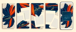 Trendy editable stories templates with blue and orange flowers, vector illustration. Design backgrounds for social media stories. instagram highlight covers. Insta fashion.  instagram layout