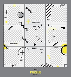 Trendy editable template for social network message, puzzle post, vector illustration. Design backgrounds for social media.