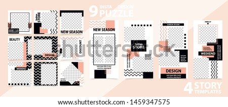 Trendy editable template for social networks stories and posts, vector illustration. Set of story and post square frame. Mockup for advertising.  Design backgrounds for social media.