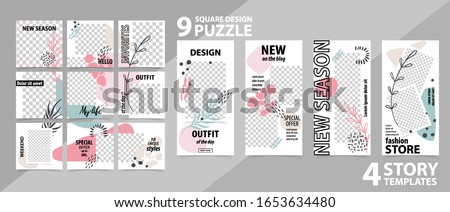 Trendy editable template for social networks stories and posts, vector illustration. Set of story and puzzle post square frame. Mockup for advertising.  Design backgrounds for social media. Foto stock ©