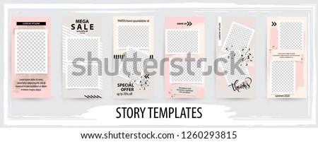 Trendy editable template for social networks stories, instagram story,  vector illustration. Design backgrounds for social media