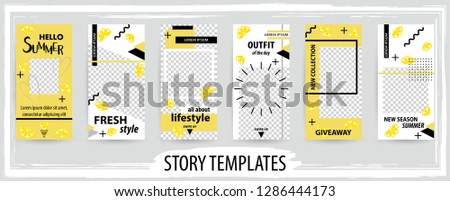 Trendy editable template for social networks stories, instagram story, vector illustration. Design backgrounds for social media.