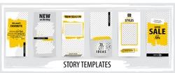 Trendy editable template for social networks stories, vector illustration. Design backgrounds for social media.