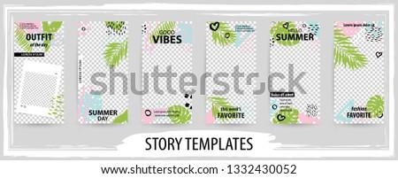 Trendy editable template for social tropical networks stories, instagram story, vector illustration. Design backgrounds for social media.