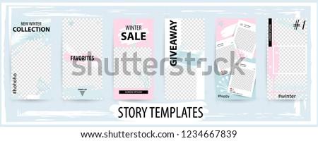Trendy editable winter template for social networks stories, instagram story, vector illustration. Design backgrounds for social media.