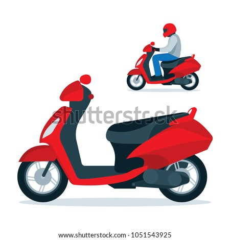 Trendy electric scooter, isolated on white background. Scooter and scooter driver in helmet. Flat style vector illustration.