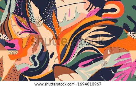 Trendy exotic jungle plants illustration pattern. Creative collage contemporary floral seamless pattern. Fashionable template for design.
