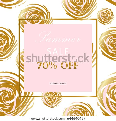 Beautiful wedding invitation card with rose flower template trendy fashion gold frame sale banner golden roses pattern artistic background for wedding junglespirit Image collections
