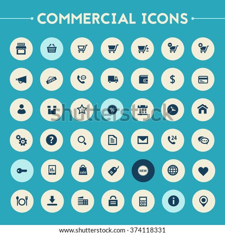 Trendy flat design big commercial icons set on bright round buttons