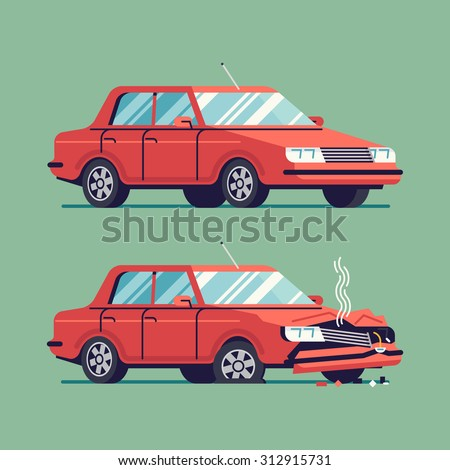 Trendy flat design traffic car sedan vehicle before and after car crash road accident | Wrecked and okay vehicle