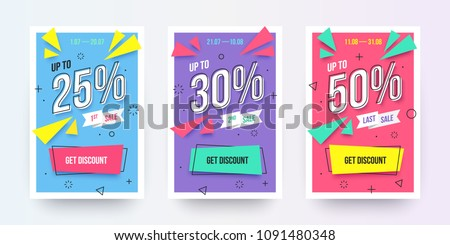 Trendy flat geometric vector banner set. Vivid banners in retro poster design style. Vintage shapes. Modern neon colors: magenta, cyan and purple. Sale labels with discount numbers.