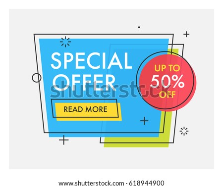 Trendy flat geometric vector banners. Vivid transparent banners in retro poster design style. Vintage colors and shapes. Blue, green, red and yellow colors. Special offer label.